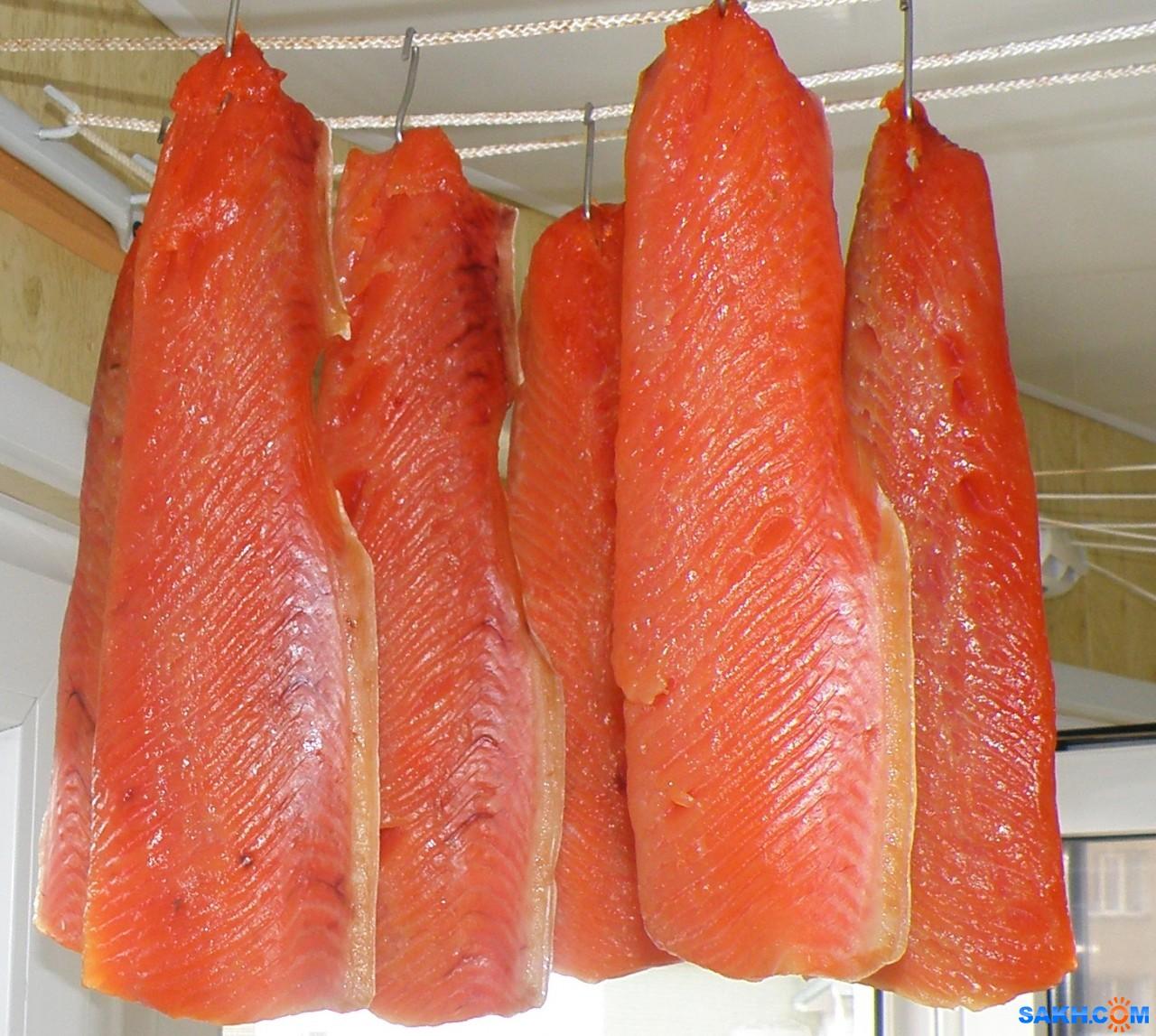 tasya: Слабо-соленые брюшки горбуши. Вялятся.