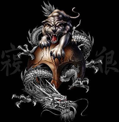 Татуировки льва и дракона