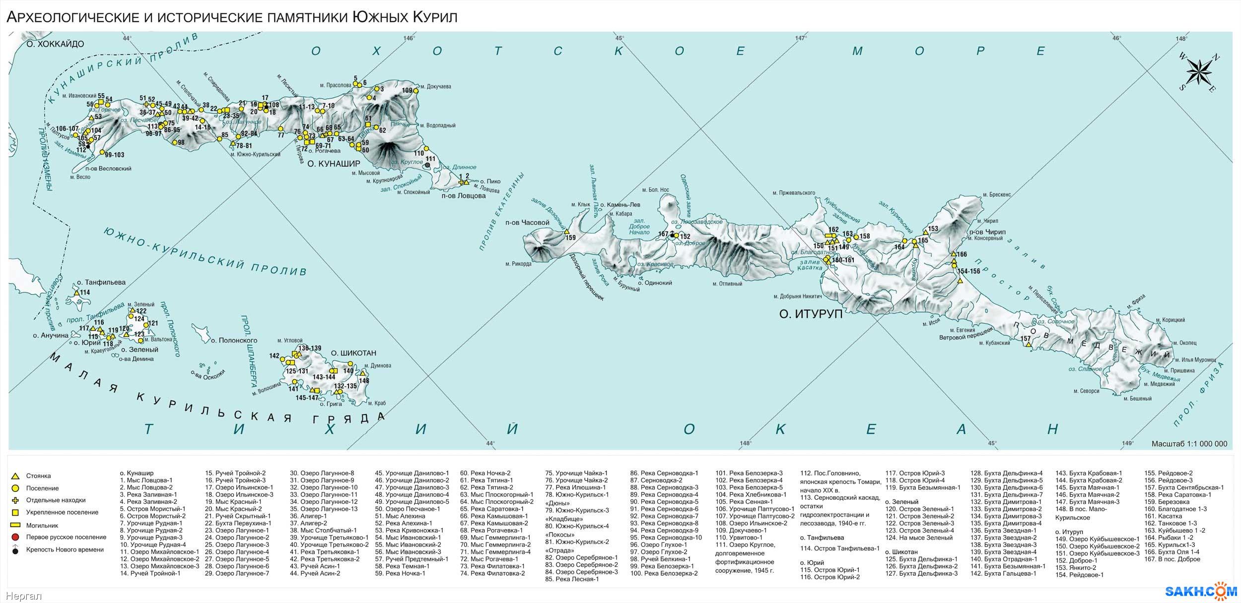 Нергал: Карта археологических памятников Курильских островов