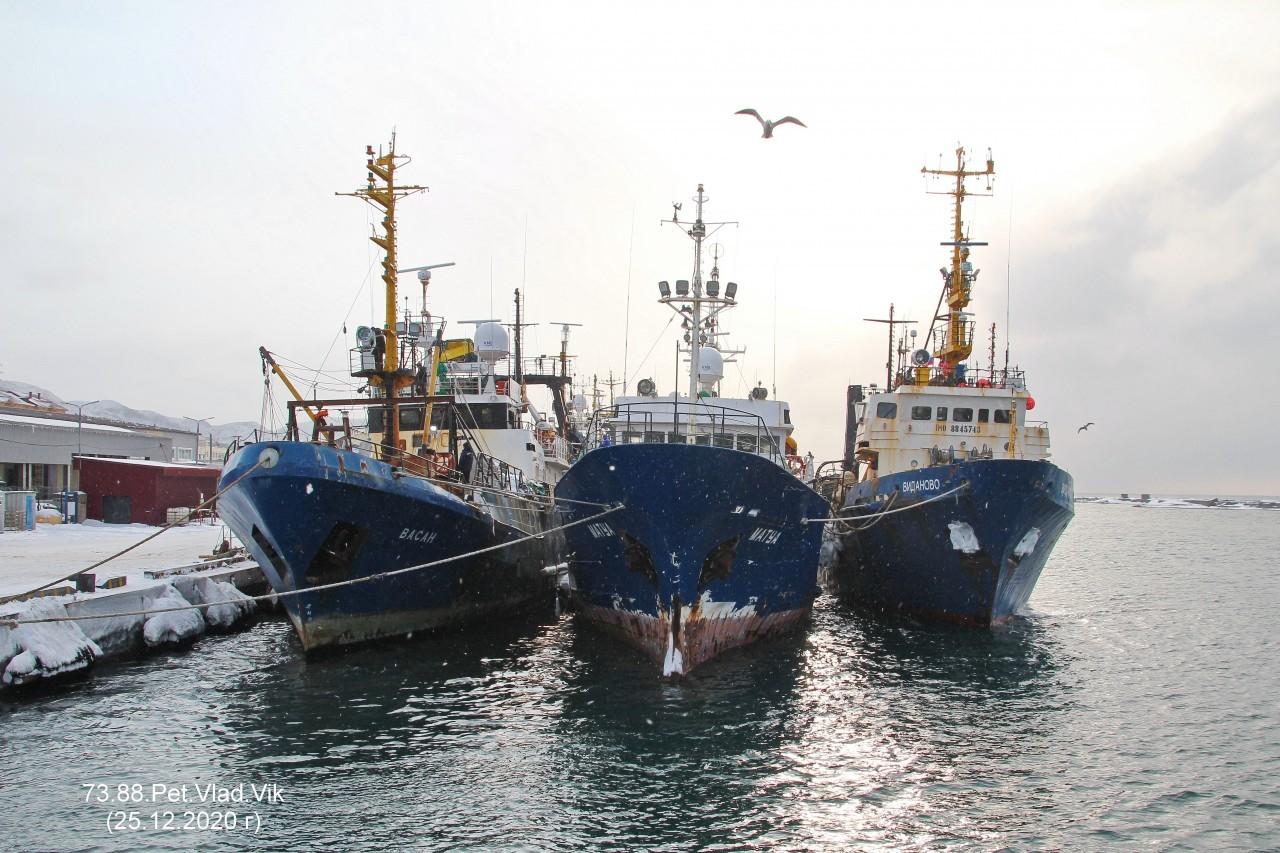 7388PetVladVik: Порт Невельск.    (Слева направо Васан  Матуа,  Виданово)