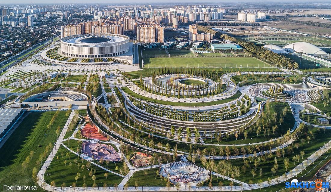 Гречаночка: Парк и стадион имени Галицкого с высоты птичьего полета