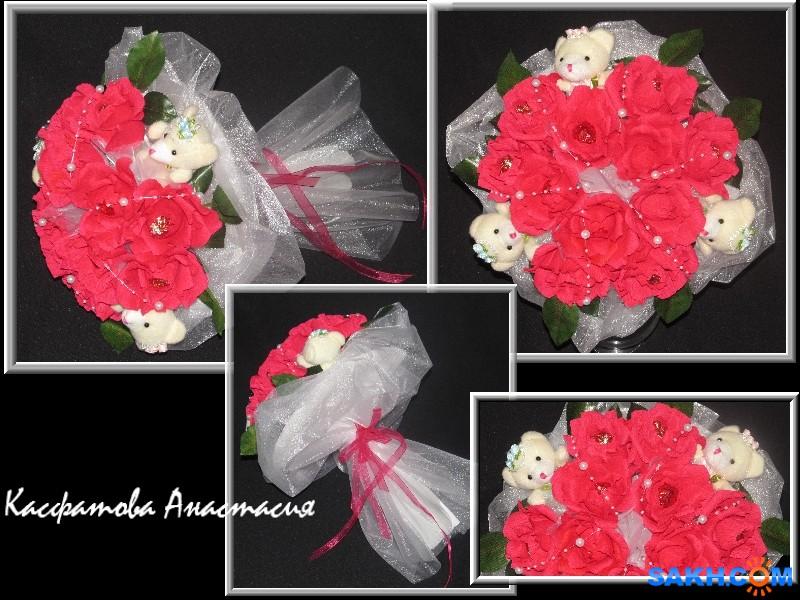 Воскресшая: сладкий букет с цветами и мишками