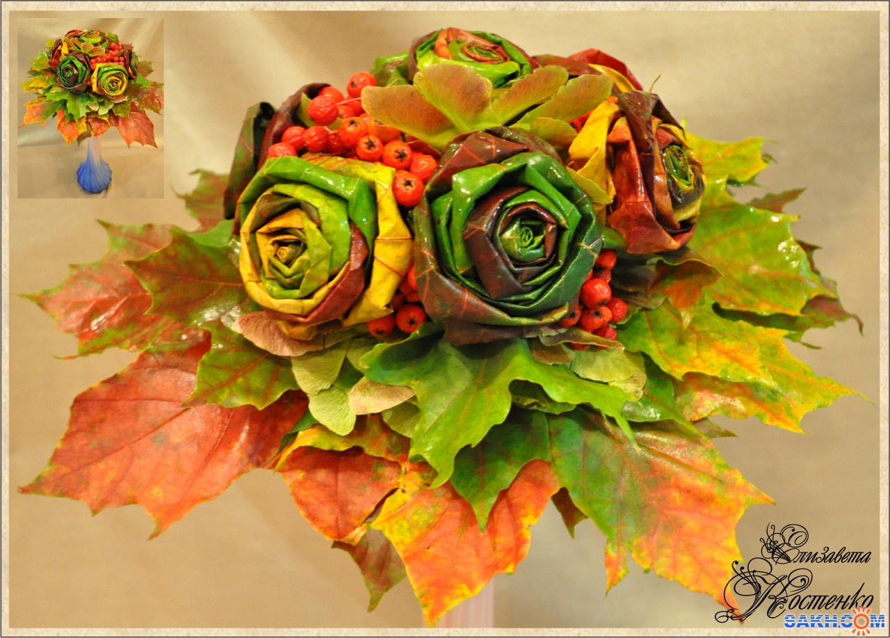 Как сделать розу из кленовых листьев с