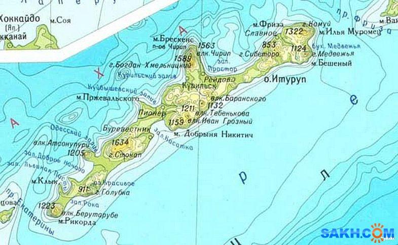 Где находится курильские острова на карте