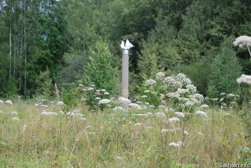 Памятная стела на месте деревни Дракино, где родился Г.И. Невельской