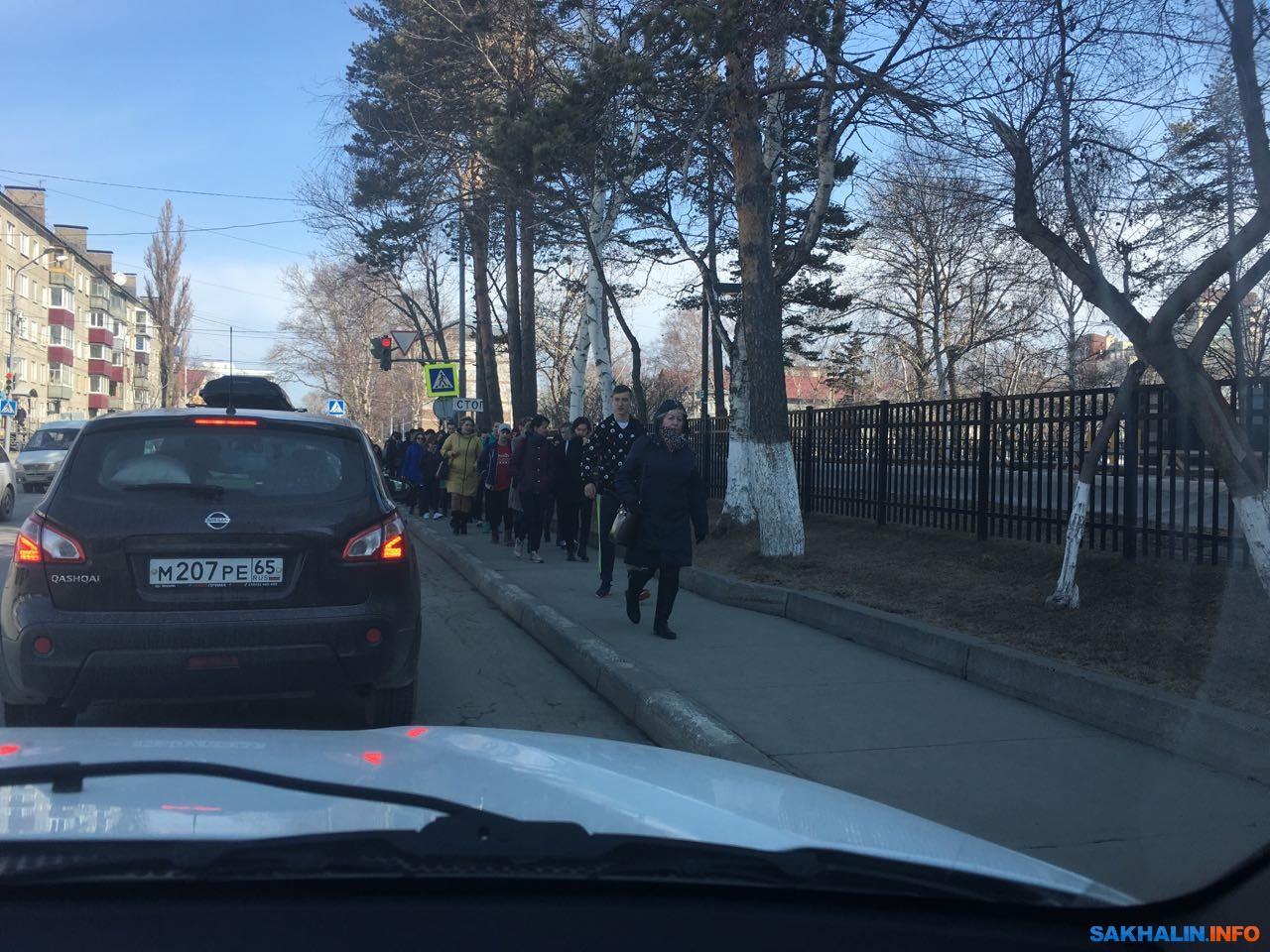Организованные колонны людей, идущих на акцию