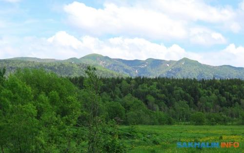 Вид нагору Бородаковскую. Гора расположена немного левей середины снимка иимеет полукруглую поверхность