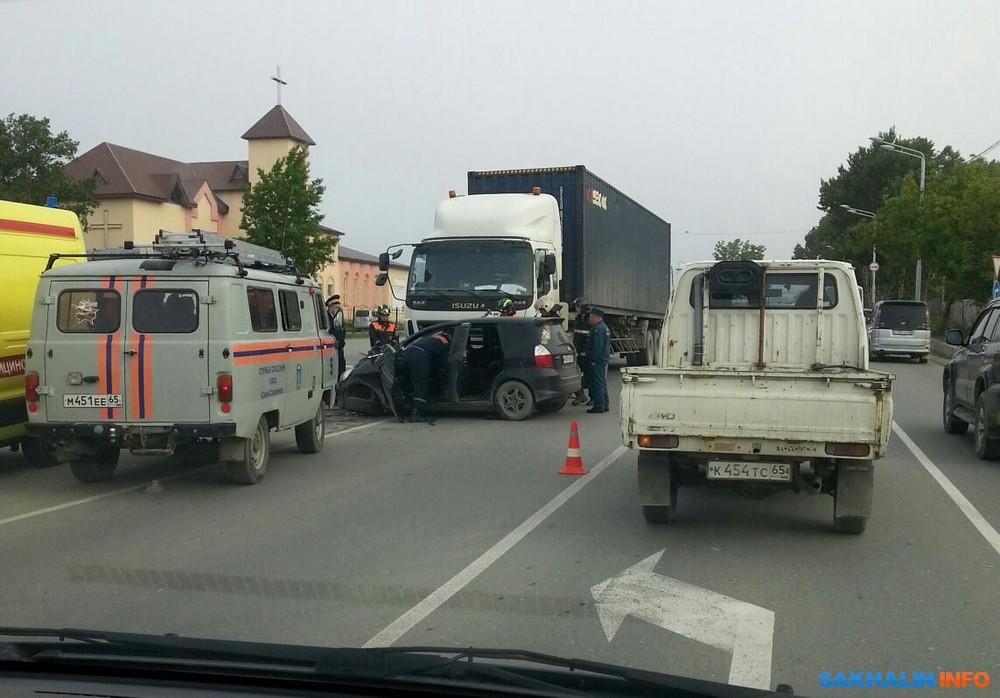 авария honda fit грузовик