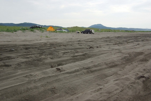 Летом каждый квадратный метр пляжа мыса Слепиковского распахан протекторами внедорожников