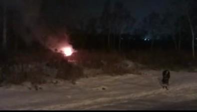 В Южно-Сахалинске сгорел автомобиль, улетевший вкювет
