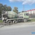 В Южно-Сахалинске бетономешалка ушла колесами вгазон