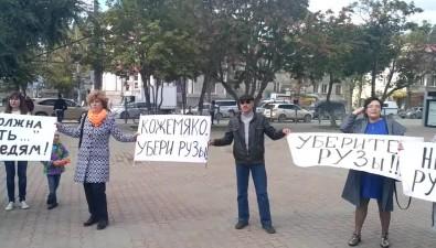 В Южно-Сахалинске Свинка Пеппа пыталась сорвать пикет орыбе, которой нет