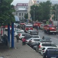 Пожарные машины скопились наперекрестке Амурской иХабаровской из-за учений