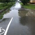 Южносахалинцы жалуются наневысыхающую лужу посреди пешеходной дорожки