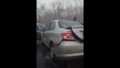 Nissan иHonda столкнулись между Южно-Сахалинском иНово-Александровском
