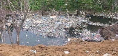 Недалеко отхолмского села Красноярского груду мусора сгребли вводоем