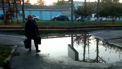 Лужа посреди пешеходной дорожки напроспекте Мира вЮжно-Сахалинске таки невысохла
