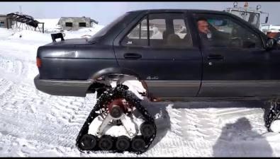 Житель Парамушира превратил Nissan Sunny вгусеничный вездеход