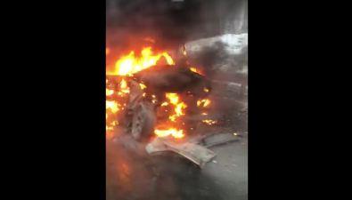 В Мицулевке сгорел автомобиль— участник лобового столкновения
