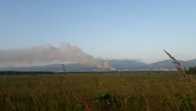 В Южно-Сахалинске горит городская свалка