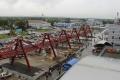 На площадку строительства нового аэровокзала вЮжно-Сахалинске доставили последнюю партию металлоконструкций