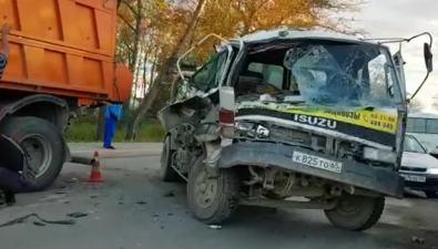 Водитель ассенизаторской машины пострадал после столкновения ссамосвалом скартофелем вТроицком