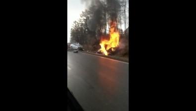 После ДТПна корсаковской трассе вавтомобиле сгорел водитель