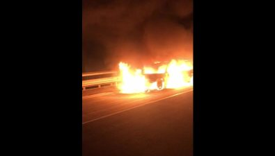 Ночью вМакаровском районе сгорел Subaru Forester