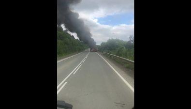 Неподалеку отТихой вгрузовике вспыхнули шпалы