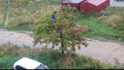 По улице Ливадных вХолмске вовремя дождей течет река