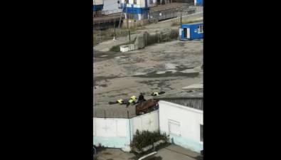 В Холмском порту людей вжилетках кладут наасфальт, возбуждено уголовное дело