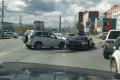 ДТП парализовало движение наулице Пуркаева вЮжно-Сахалинске