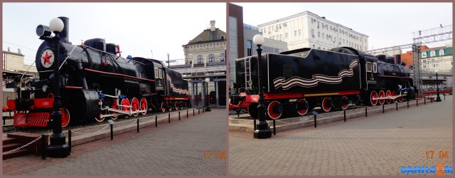 MyCollages Рядом с вокзалом на постаменте стоит паровоз-музей.  Просмотров: 56 Комментариев: 0