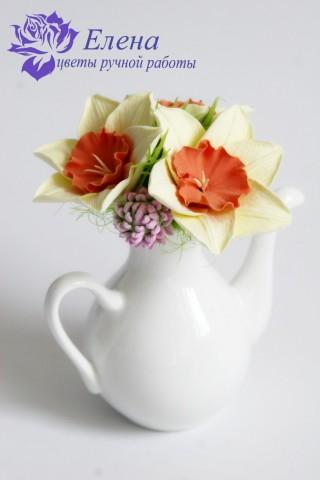 """Цветочный чайничек """"Клевер и Нарцисс""""  Просмотров: 173 Комментариев: 0"""