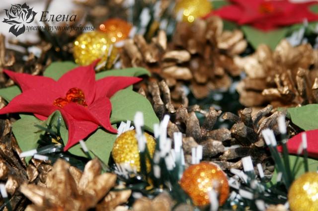 """Рождественский венок """"Пуансетия""""  Просмотров: 456 Комментариев: 0"""