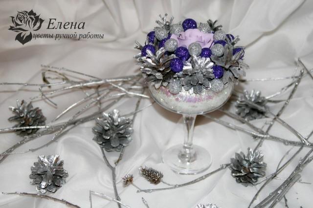 """Новогодняя композиция """"Сиреневый иней""""  Просмотров: 648 Комментариев: 0"""