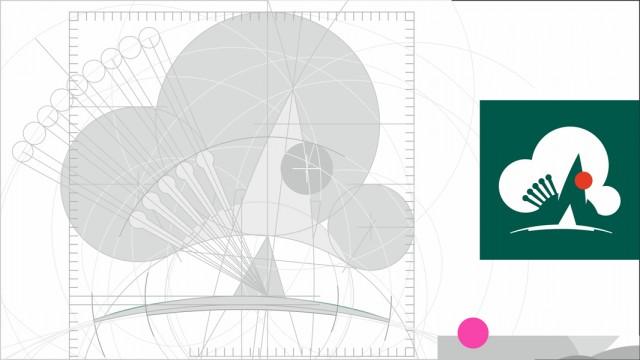 вариант логотипа и элементов фирменного стиля городского парка имени Ю.Гагарина Фотограф: © marka | 2016 Построение знака.  Просмотров: 100 Комментариев: 0