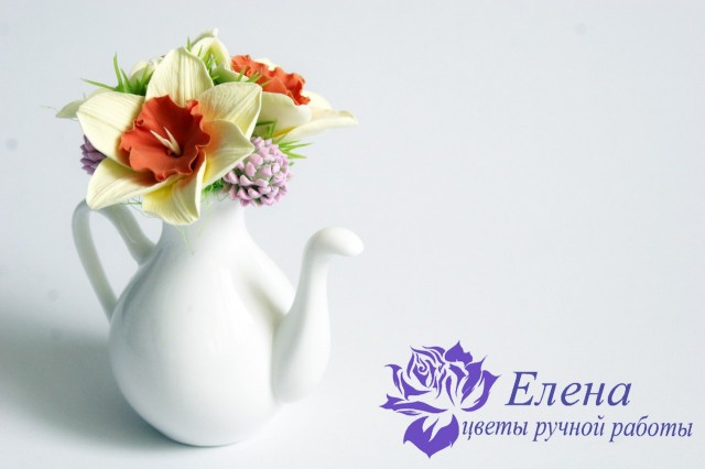 """Цветочный чайничек """"Клевер и Нарцисс""""  Просмотров: 172 Комментариев: 0"""