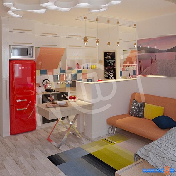 Дизайн интерьеров он-лайн 3D Фотограф: nat Квартира студия для молодой пары.  Просмотров: 275 Комментариев: 0
