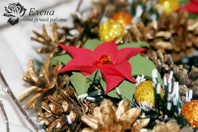 """Рождественский венок """"Пуансетия""""  Просмотров: 513 Комментариев: 0"""