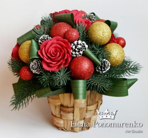 """Новогодний букет """"Рождество""""  Просмотров: 92 Комментариев: 0"""