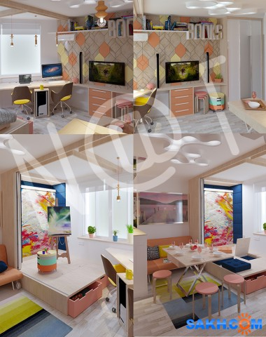 Проектирование 3D Фотограф: Nat Интерактивное пространство для молодой пары.квартира-Студия  Просмотров: 321 Комментариев: 0