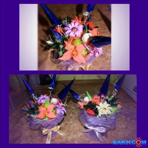 Цветы из конфет в горшочке