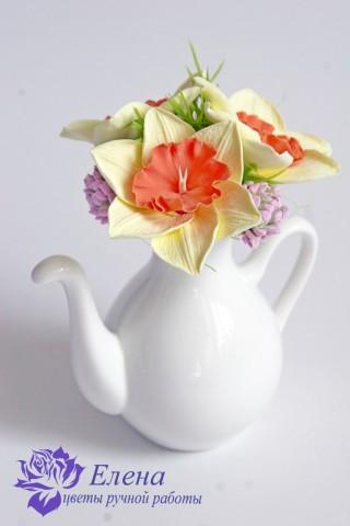 """Цветочный чайничек """"Клевер и Нарцисс""""  Просмотров: 166 Комментариев: 0"""