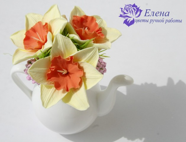 """Цветочный чайничек """"Клевер и Нарцисс""""  Просмотров: 210 Комментариев: 0"""