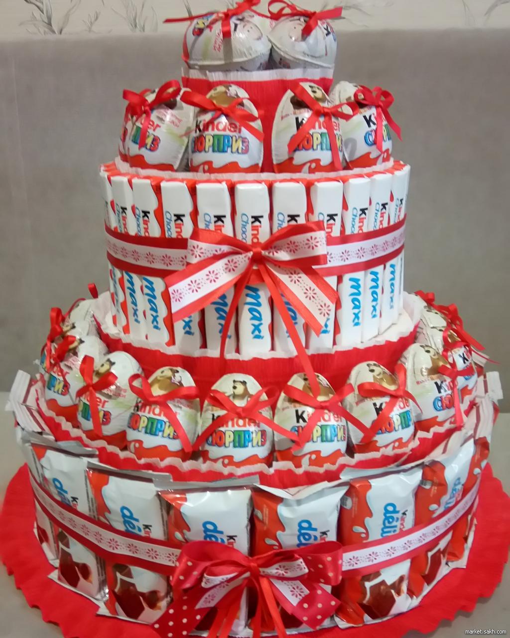 Сладкий торт из соков и конфет своими руками