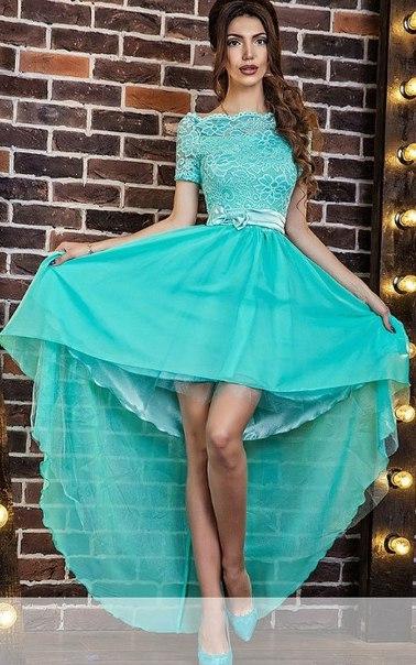 Бирюзовое платье со шлейфом