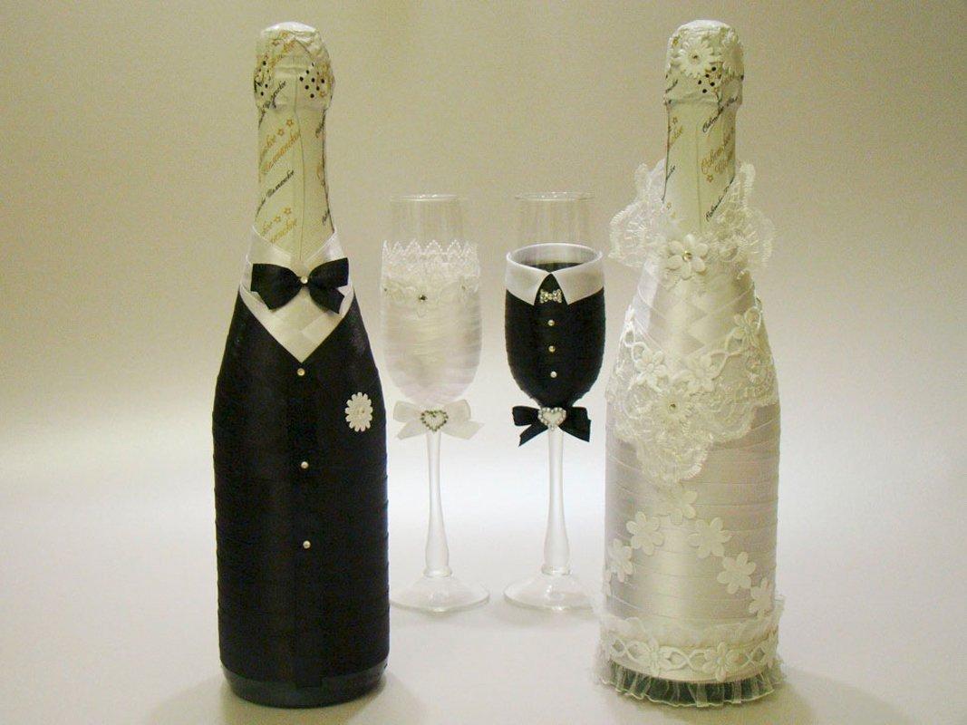 Оформление свадебной бутылки шампанского своими руками