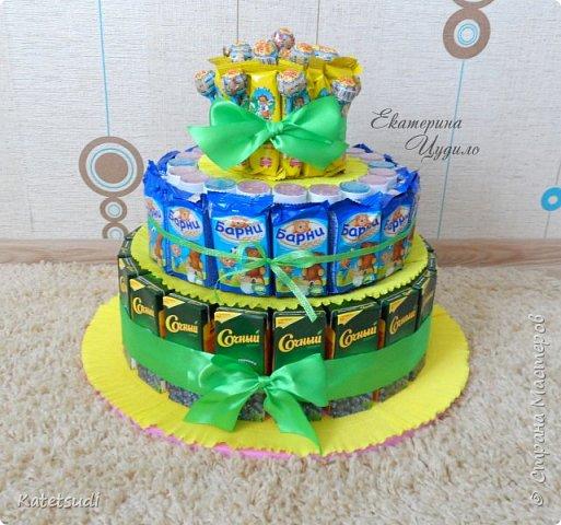 Как сделать торт в детский сад из соков и конфет