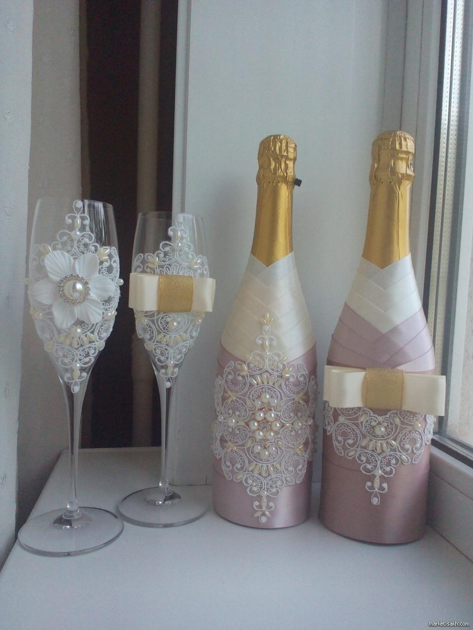 Как украсить бутылку на свадьбу 42